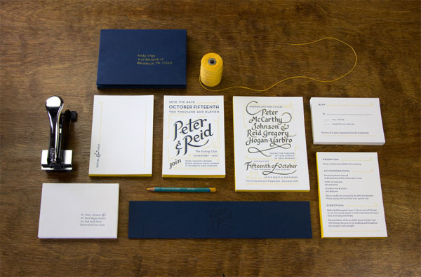 Reid 39s gorgeous navy blue and yellow letterpress wedding invitations