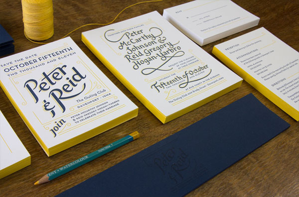 Hand-Lettered Navy Blue + Yellow Wedding Invitations - Invitation ...