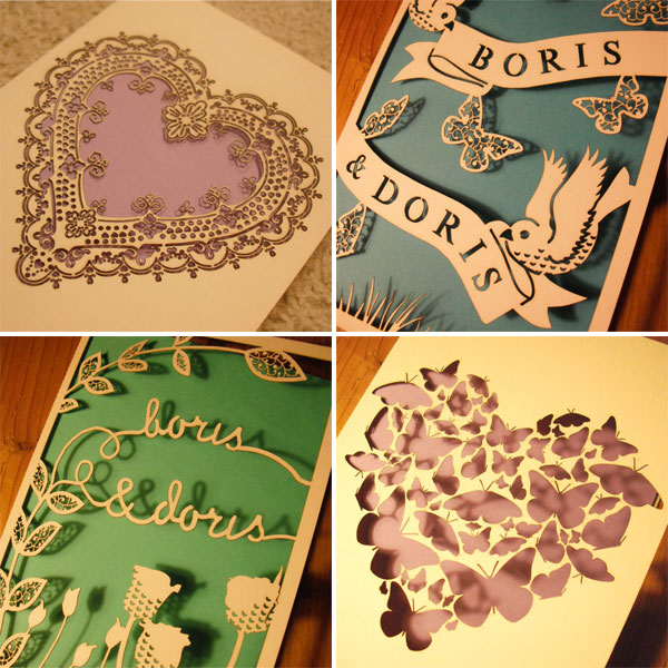 laser cut wedding invitations Briony and James the Londonbased duo