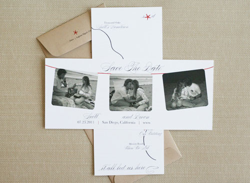 Custom Save the Dates by Paper and Thread Studio