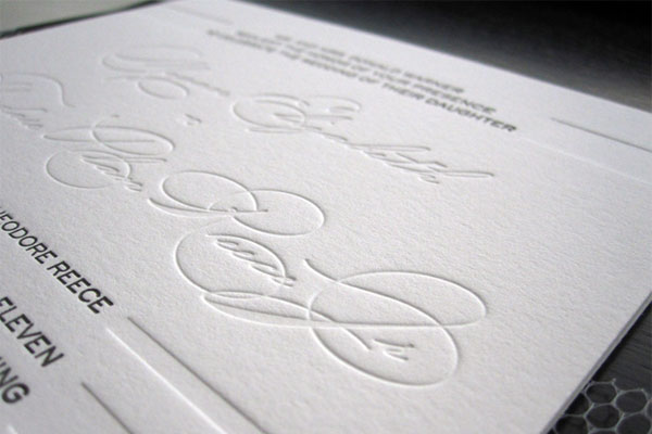 Elegant Black White Letterpress Wedding Invitations