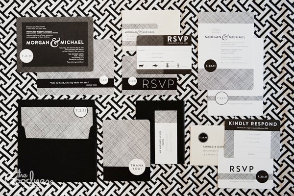 Modern Black + White Wedding Invitations