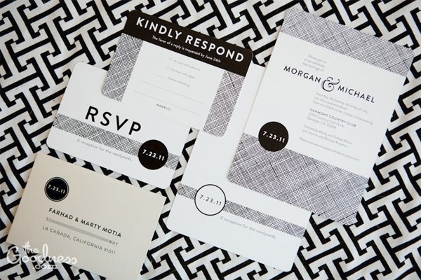 Modern Black White Wedding Invitations Invitation Crush