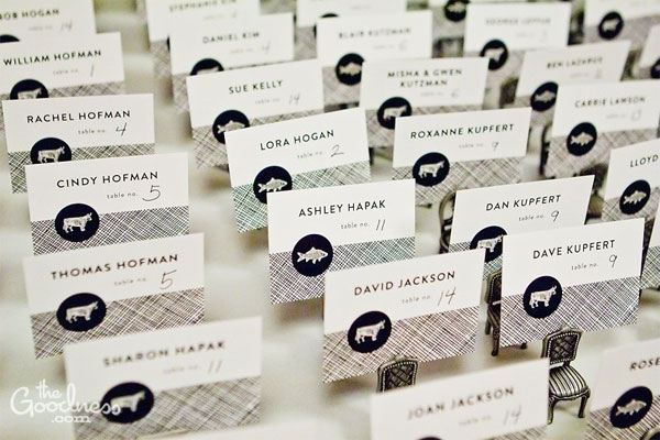 Stylish Escort Cards Meal Choice