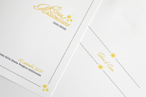 Daisy Motif Wedding Invites