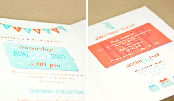 Custom Teal + Orange Wedding Invites