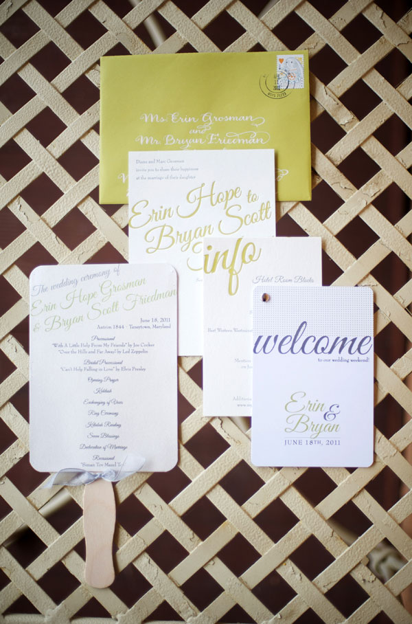 Chartreuse Gray Letterpress Wedding Invitations