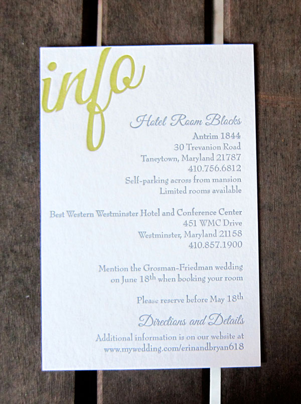 Wedding Info Card
