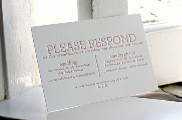 Letterpress Wedding Response Card