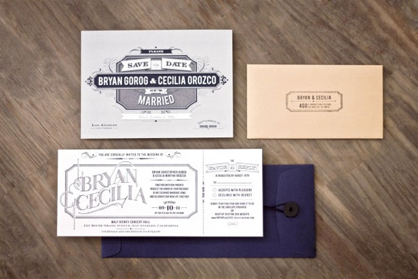 Typography Ticket Wedding Invitations