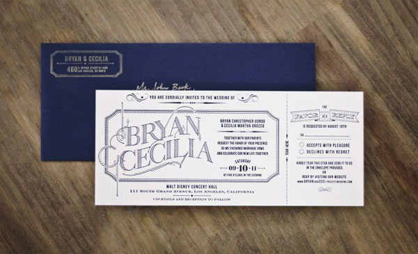 Navy Blue Ticket Invitations