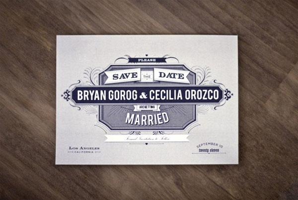 Navy Blue Save the Date Card