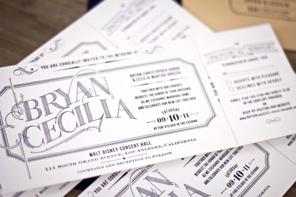Typography Ticket Wedding Invites