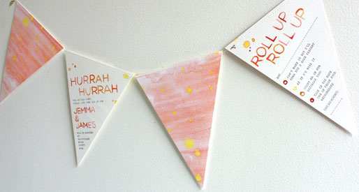 Watercolor Bunting Invites