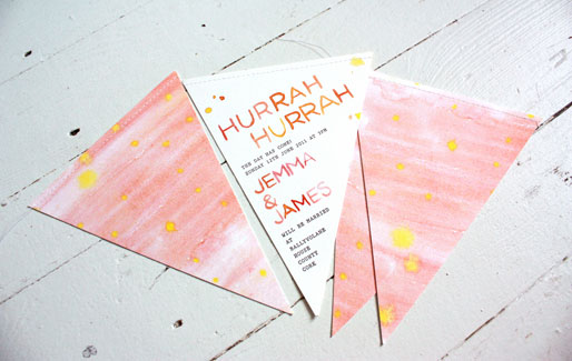 Watercolor Bunting Wedding Invitations