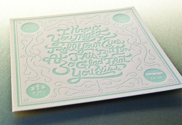 Letterpress Birth Announcements Oliver