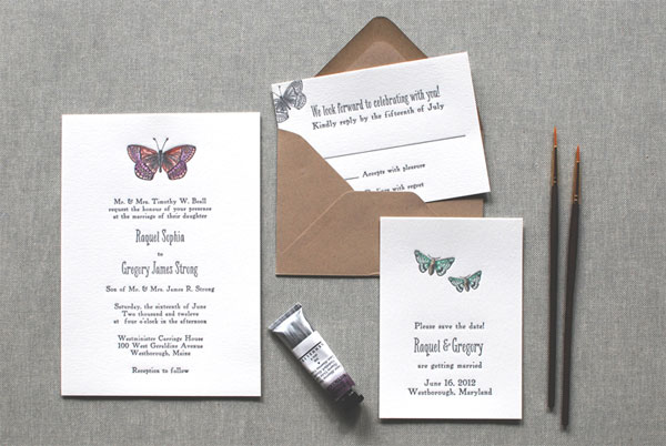 Watercolor Letterpress Wedding Invitations
