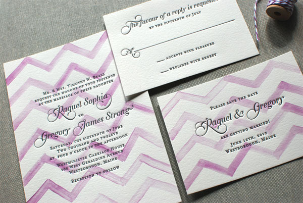 Chevron Watercolor Letterpress Invitations