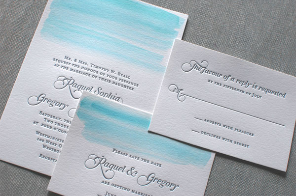 soft watercolor invitations by monumental designs via the ruffled blog - Watercolor Wedding Invitations