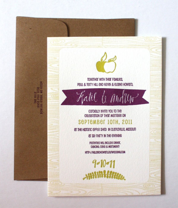 Woodgrain Calligraphy Letterpress Wedding Invitations