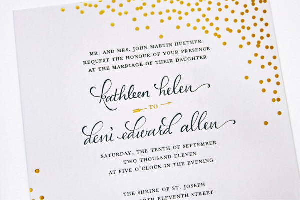 Gold Foil Stamped Calligraphy Wedding Invitations