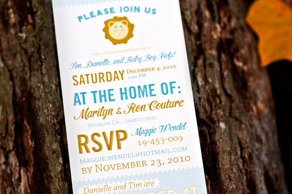Modern Cute Lion Baby Shower Invites