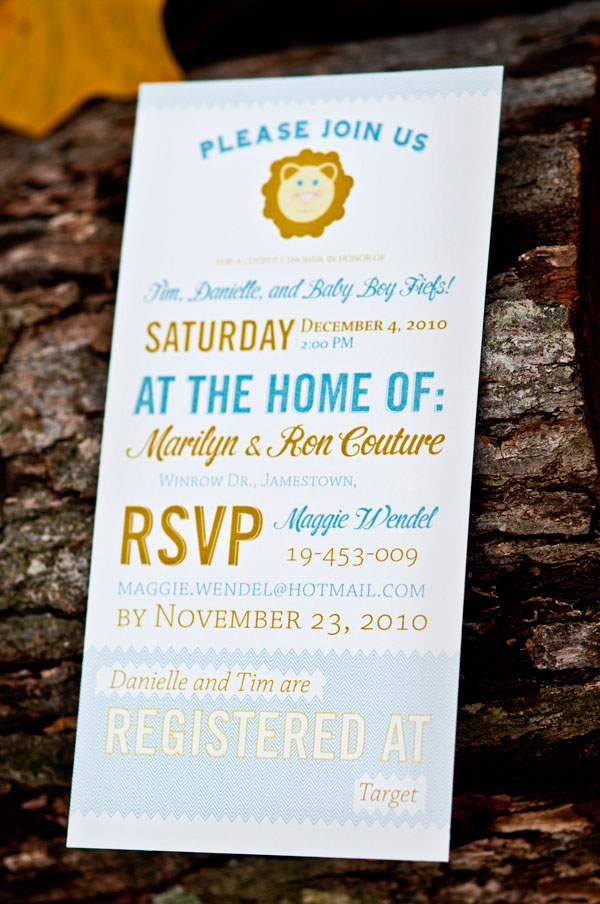 Modern Lion Baby Boy Shower Invitations