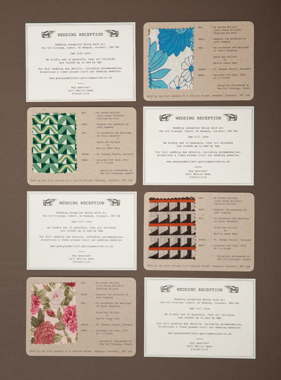 Vintage Fabric Swatch Letterpress Invitations