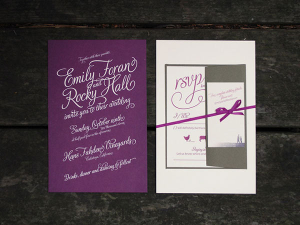 Wine Hued Letterpress Wedding Invitations