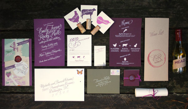 Custom Wine Themed Wedding Invitation Suite