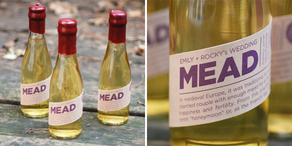 Home Bottled Mead Wedding Favors