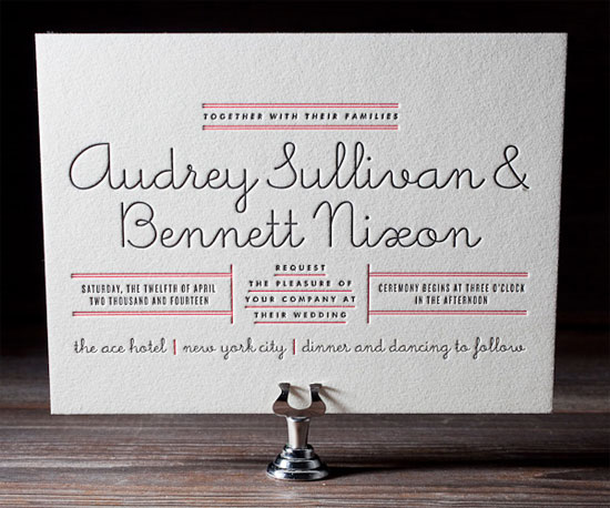 Gotham Letterpress Wedding Invitations