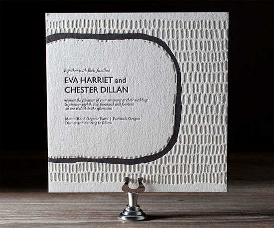 Indie Twill Letterpress Wedding Invitations