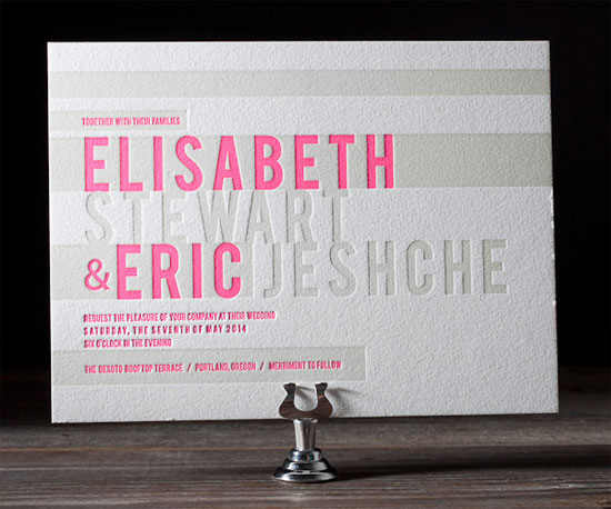 New Horizon Letterpress Wedding Invitations