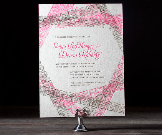New Washi Letterpress Neon Invitations