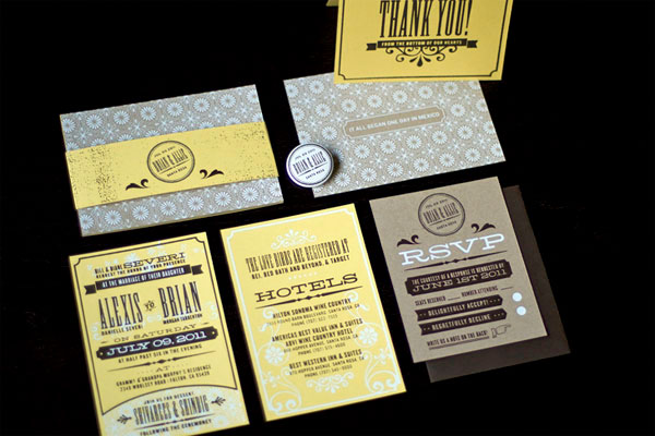 Unique Silkscreened and Stamped Wedding Invitations