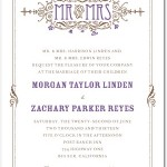 Artistic Deco Letterpress Wedding Invitations