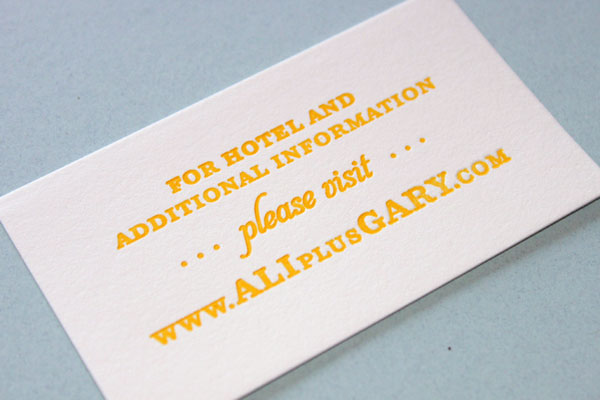 Letterpress Wedding Website Card