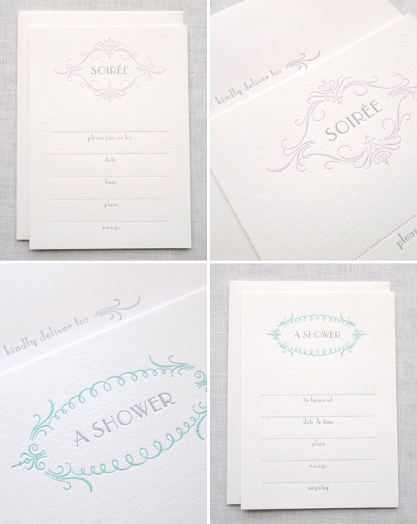 Elegant Letterpress Fill In Invitations