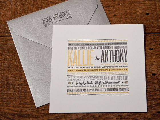 Letterpress Typography Wedding Invites