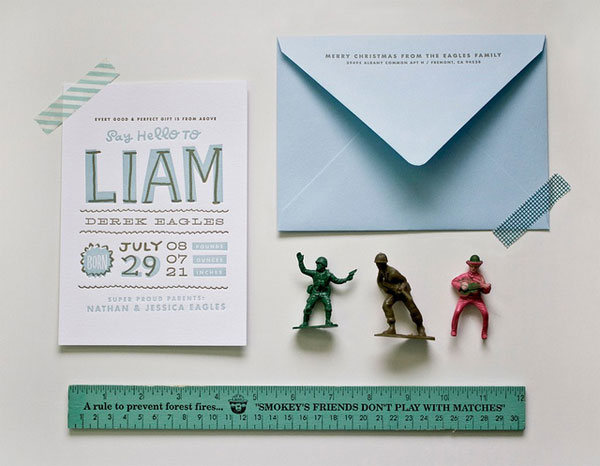 Hand Lettered Letterpress Birth Announcements