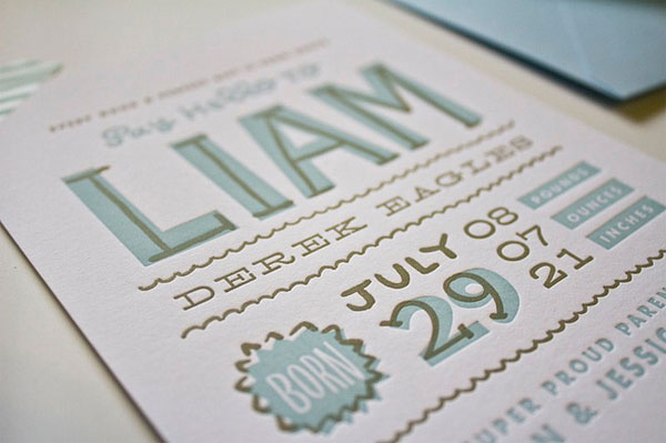 Liam's Hand Lettered Birth Announcements