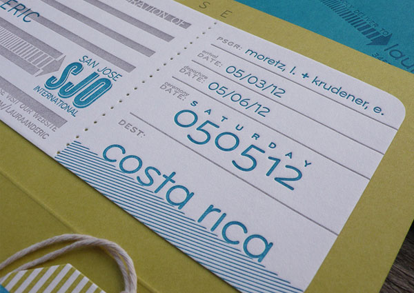 Modern Boarding Pass Wedding Invitation