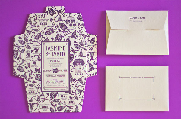 Self Mailing Art Nouveau Wedding Invitations