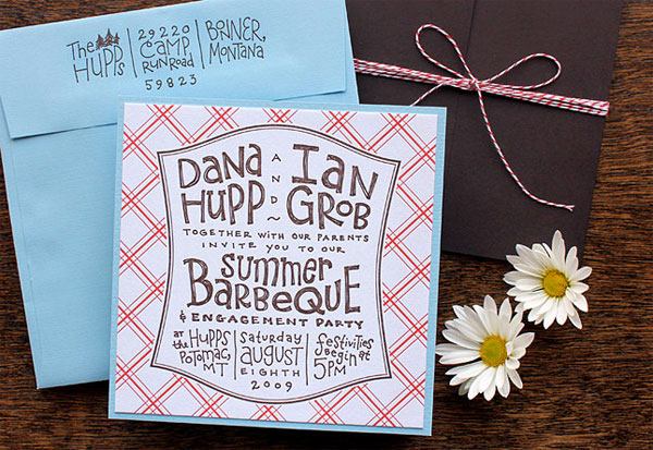 Country Chic Hand Lettered Wedding Invitations