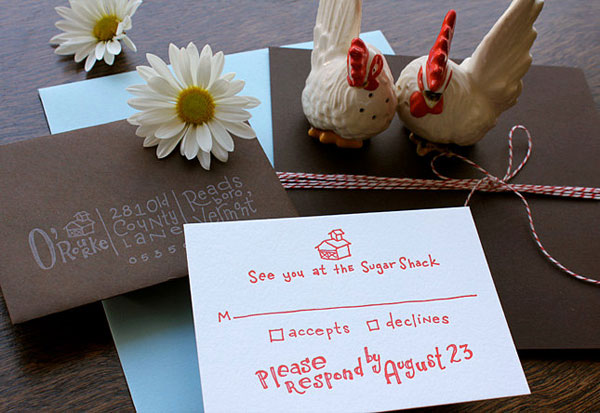 Quirky Hand Lettered Wedding Invitations