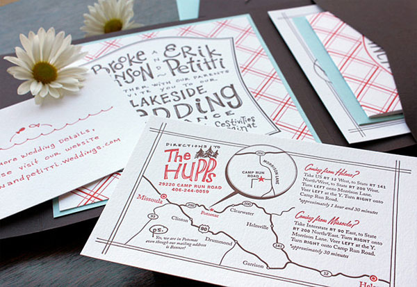 Country Chic Letterpress Wedding Invitations