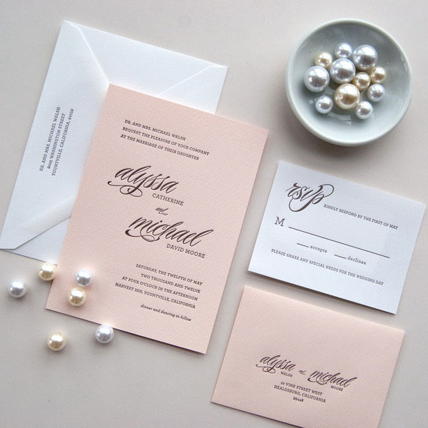 Daily Sip Studios Letterpress Wedding Invitations