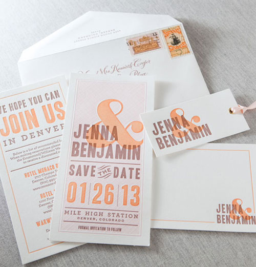 Auburn Letterpress Wedding Invitation Suite