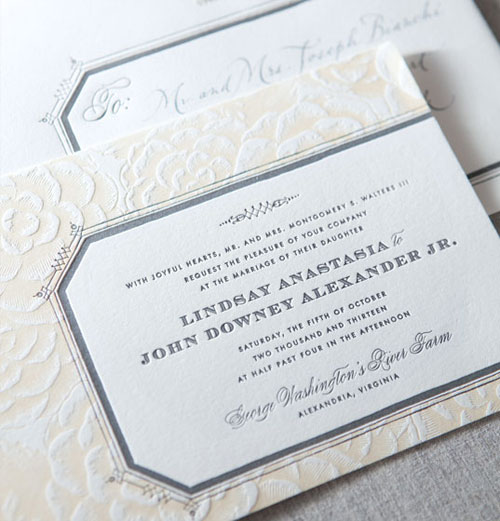 Kentfield Letterpress Wedding Invitation